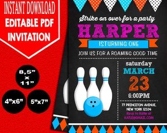 Bowling Birthday Invitation, Bowling Chalkboard Birthday Invitation Template, Editable PDF Invitation, Editable Birthday Invitation Template