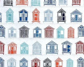 Beach Huts Multi from Andover Fabric's Marina Collection Designed by The Henley Studio