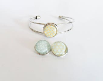Bracelet snap chunk interchangeable 3 in 1 pattern Scandinavian kaleidoscope