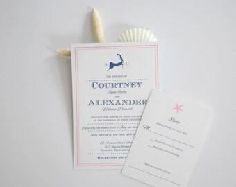 Fun Cape Cod map wedding invitation, nautical invitation, beach invitation, custom invitation, cape cod invitation