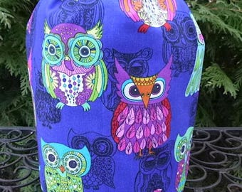 Owls Drawstring bag, WIP bag, knitting project bag, Cool Owls, Suebee
