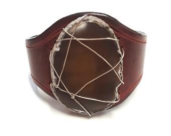 Wonder Woman Cherry Chocolate Agate Leather Cuff