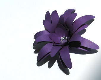 purple paper flowers for weddings, gifts, or scrapbooking set of 12