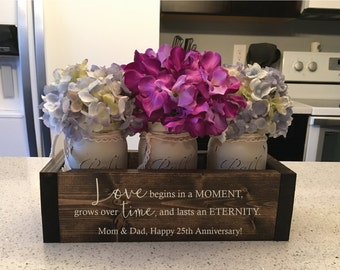 25th Anniversary Gift for Parents  25th Wedding Anniversary  Anniversary Wood  Flower Box Set  Floral Arrangement  Anniversary Gift for Wife