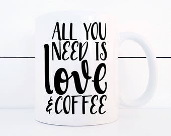 Love and Coffee Ceramic 11 ounce Mug Valentines Day Treat Yo-self