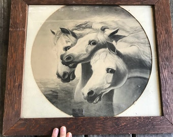 Vintage 1958 Pharaoh's Horses by J F Herring Glass Wooden Frame rare
