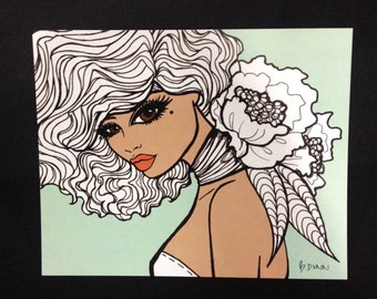 Pinup girl - 'Nina' Illustration by Brenda Dunn