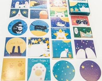40 Sticker set/good night CAT/DIY Filofaxing scrapbooking Aufkeber