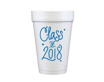 Graduation Foam Cups - BLUE INK (in-stock!)