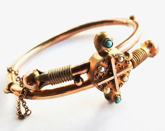 Antique Victorian Gold Filled Bracelet with Turquoise