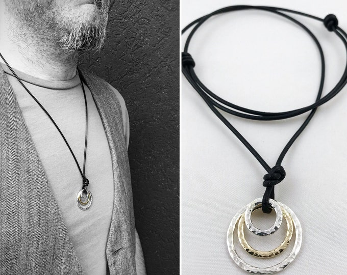 Featured listing image: Men's Two Tone Triple Circle Necklace - Solid Sterling Silver/Solid 14k Gold - Rustic - Three Hammer Formed Circles -Adjustable Leather Cord