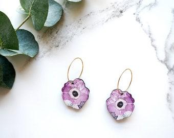 Flower Hoop Earrings - Hoop Earrings - Blossom Earrings - Anemone Earrings - Pansy Earrings - Botanical Earrings - Flower Jewellery