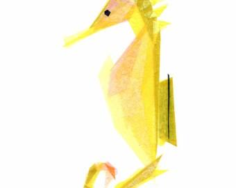 Mabel Seahorse - Seahorse Art Print, Seahorse Decor, Nautical Art Print, Beach Art