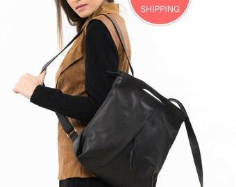 "Black leather backpack, Women leather rucksack, Black leather bag, Leather backpack handmade, Black leather rucksack, 13"" laptop backpack"