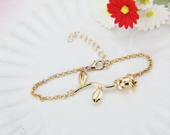 Rose Bracelet, Rose Gold Rose Charm Bracelet, Rose Charm, Gold Rose Bracelet, Garden Gift, Romantic Gift, Valentines Day Gift, Mother Gift
