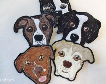 Dog Portrait Patch. Personalized Custom Dog Gift. Textile Art. Pit Bull Terrier