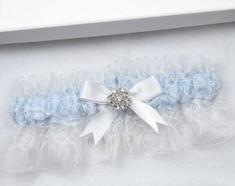 Blue Wedding Garter, Bridal Garter, Blue Garter, White Wedding Garter, Wedding Garter, Chantilly Lace Garter, Blue Garter, Something Blue