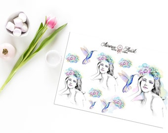 Spring Girl with Colibri watercolor planner stickers boho