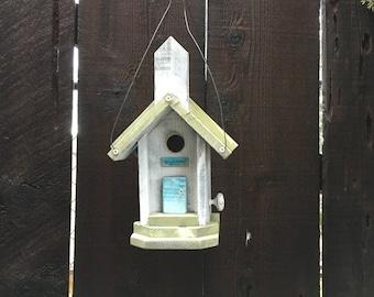 Farmhouse Church Birdhouse Handmade, Shabby Chic Country Style, Hand Painted White & Celery Green, Functional Bird House, Item #507056173