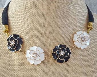 Black and White Flower and Suede Choker