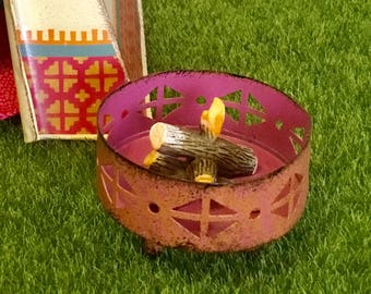 Dollhouse Miniature, Fairy Garden, Miniature Metal Fire Pit 1:12 Scale