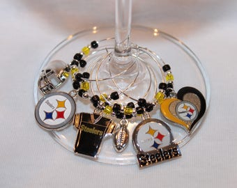 Pittsburgh Steelers Wine Charms Set of 6 Steelers Wine Glass Markers Pittsburgh Wine Charms