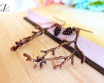 Twig Earrings, Twig Jewelry, Tree Branch Earrings, Pinecone Earrings Nature Earrings Forest Earrings Rustic Wedding Earrings Bridesmaid Gift