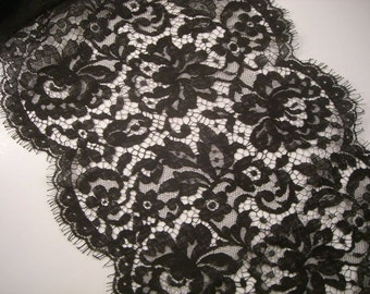 Black Cotton Floral Design Chantilly Lace Trim--One Yard