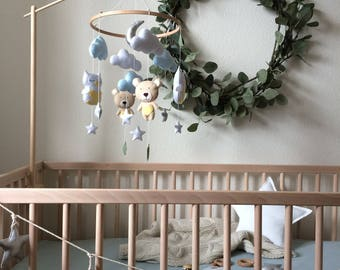 Wood mobile arm - Baby mobile holder - Cot mobile arm - Crib mobile arm - Mobile attachment - Hanger mobile - Natural cot hanger -Mobile arm