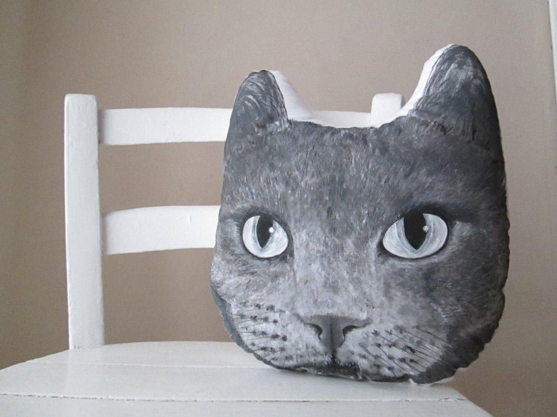 chartreux cat pillow head shaped russian blue cat throw pillow
