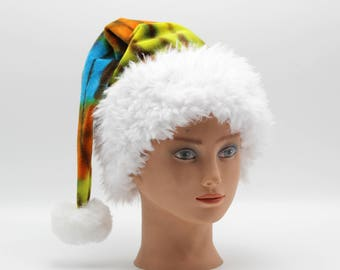 Tie Dye Santa Hat Organic Bamboo Velour Holiday Hat