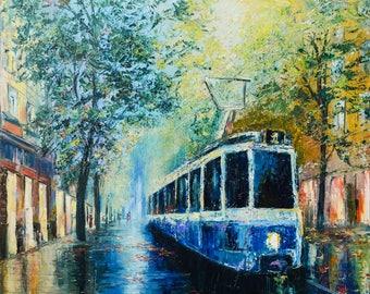 "Original Oil Painting ""City tram"""