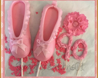 "6"" balerina shoe with flower and number edible cake topper"