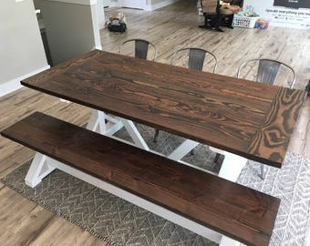 Traditional Farmhouse Table with Breadends and Five Planks & Bench