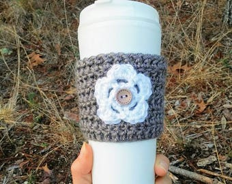 Crochet cozy, coffee cup cozy with flower, brown sparkle yarn, ready to ship