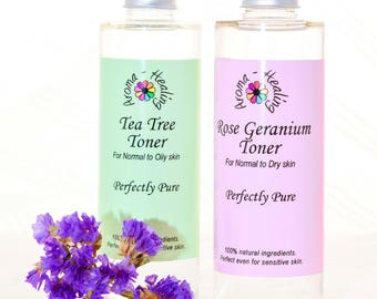 Natural Facial Toner - Tea Tree - Rose Geranium - Vegan - Acne - Greasy Skin - Normal Dry Skin