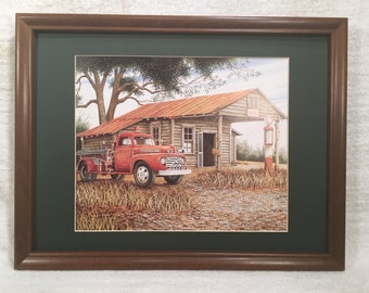 framed and matted fire truck gas pumps  print country primitive farmhouse Decor art, picture