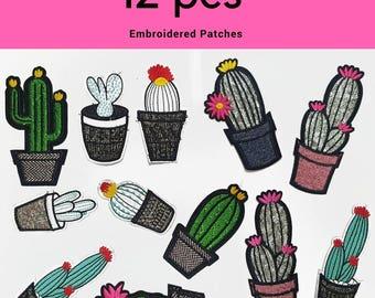 12 pcs Mix Of Embroidered  Cactus Plants Patches Appliques, Set Mix of Decorative Appliques