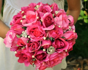 READY TO SHIP pink Roses Hierloom Bridal Bouquet plus Groom's Boutonnire - medium 8 inches
