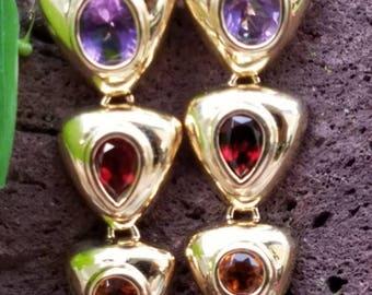 Vintage 14k Yellow Gold Amethyst Garnet Citrine Drop Dangle Earrings Estate Jewelry 8.4 gm