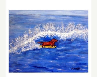 25% off dachshund art - Dachshund Surfing Dog Art Print - dachshund gifts