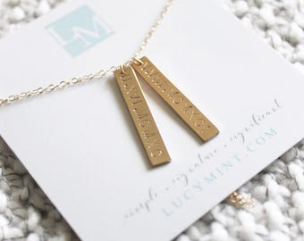 The Duo Aria Necklace| 14k Gold Filled Necklace | Personalized Jewelry