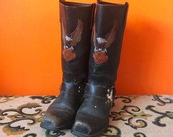 Harley Davidson Boots- Motorcycle Boots- Black Ankle Boots for Women- Vintage Boots- Harley Boots- Harness Boots- Leather Boots