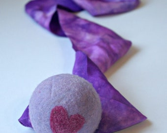 Pink & Purple, Waldorf Inspired Comet Ball (All Natural Wool and Silk Toy for Kids and Toddlers)
