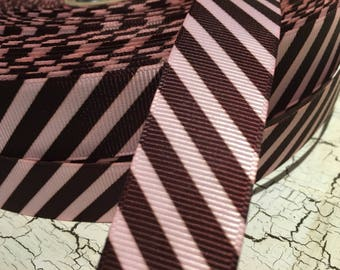 "3 yards 7/8"" BRown and PINK Preppy Diagonal Stripe Grosgrain Ribbon"
