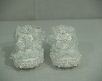 Baptism Shoes girls white satin with lace, Christening Shoes, Pageant Wear, Frilly Soft Shoes, Soft Sole Crib Shoes, Baby Shower Gift