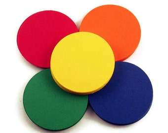 Two Inch Paper DIe Cut  2 inch  Circles in   The Basics Quantity 50