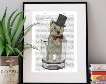 West Highland Terrier Print - Westie in Whisky glass - scottie gift funny kitchen art scottish gift dog kitchen decor bar art westie gift