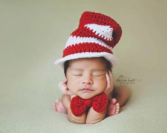 Striped Top Hat, Baby Hat and Bow Tie, Unisex, Red and White, Top Hat, Newborn Photo Prop