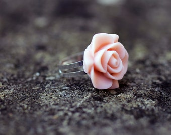 Light Pink Rose Flower Adjustable Ring